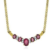 Ruby & 1/8 ct. tw. Diamond Necklace in 14K Yellow Gold