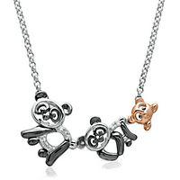 Diamond Mom, Dad & Baby Panda Pendant in Sterling Silver
