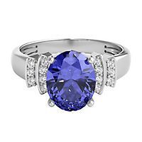Tanzanite & 1/10 ct. tw. Diamond Ring in 14K White Gold