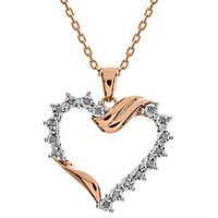 1/10 ct. tw. Diamond Heart Pendant in 14K Rose Gold over Sterling Silver