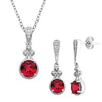 Lab-Created Ruby & White Sapphire Pendant & Earring Boxed Set in Sterling Silver