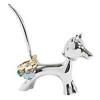 Silver-Plated Bobblehead Dog Ring Holder - 2.75