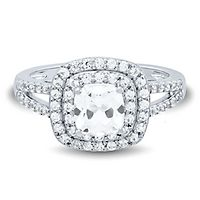 Lab-Created White Sapphire Halo Ring in Sterling Silver