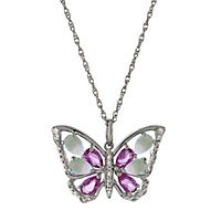 Lab-Created Opal & Sapphire Butterfly Pendant in Sterling Silver