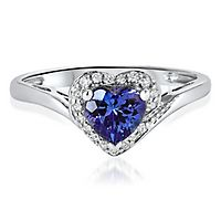Tanzanite & White Sapphire Heart Ring in Sterling Silver