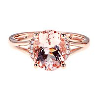 Morganite & Diamond Oval Ring in 10K Rose Gold