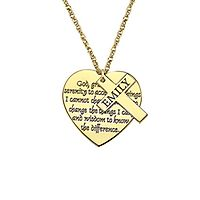 Personalized Cross & Heart Pendant in 14K Yellow Gold