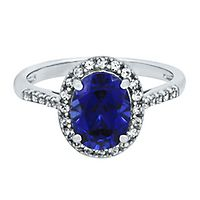 Lab-Created Blue & White Sapphire Ring in 10K White Gold