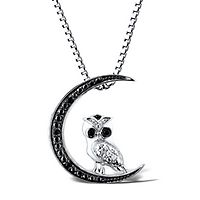 Black & White Diamond Moon & Owl Pendant in Sterling Silver
