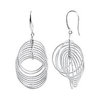 Multi-Circle Twist Dangle Earrings in Sterling Silver