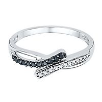 1/7 ct. tw. Black & White Diamond Bypass Ring in Sterling Silver