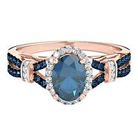 Blue Topaz & 1/5 ct. tw. White & Blue Diamond Ring in 10K Rose Gold