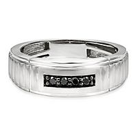 Men's 1/7 ct. tw. Black Diamond Band in Sterling Silver