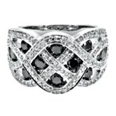 10K white gold ring with 112 round single cut diamonds weighing approximately 1/2 ct. tw. and 10 round brilliant cut black diamonds weighing approximately 1 ct. tw.