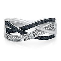 Black & White Diamond Ring in Sterling Silver