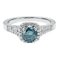 1 ct. tw. Blue & White Diamond Engagement Ring in 14K White Gold