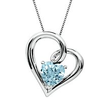 Aquamarine Heart Pendant in Sterling Silver