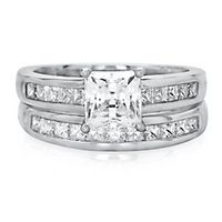 Lab-Created White Sapphire Engagement Ring Set in Sterling Silver