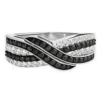 1/2 ct. tw. Black & White Diamond Crossover Band in Sterling Silver