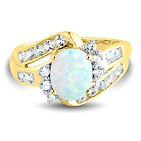 Lab-Created Opal & Lab-Created White Sapphire Ring in 10K Yellow Gold