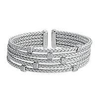Diamonvita® Simulated Diamond Woven Cuff Bracelet in Sterling Silver