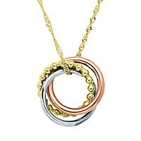Endura Gold® Tricolor Circle Pendant in 14K Gold