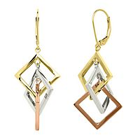 Endura Gold® Tricolor Square Dangle Earrings in 14K Gold