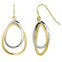 Endura Gold® Oval Dangle Earrings in 14K Yellow & White Gold