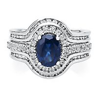Lab-Created Blue & White Sapphire Ring Set in Sterling Silver