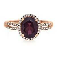 Rhodolite Garnet & 1/5 ct. tw. Diamond Ring in 10K Rose Gold