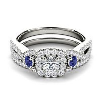 My Diamond Story® 3/4 ct. tw. Diamond & Blue Sapphire Engagement Ring Set in 14K White Gold