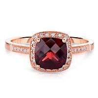 Garnet & 1/10 ct. tw. Diamond Ring in 14K Rose Gold