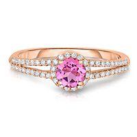 Pink Tourmaline & 1/5 ct. tw. Diamond Ring in 14K Rose Gold