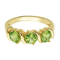 Peridot Ring in 18K Yellow Gold over Sterling Silver