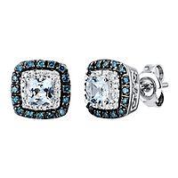 Aquamarine & 1/4 ct. tw. White & Blue Diamond Stud Earrings in 10K White Gold