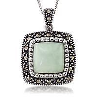 Jade & Marcasite Pendant in Sterling Silver