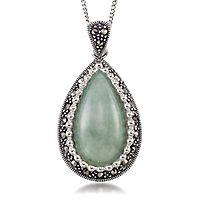 Jade & Marcasite Drop Pendant in Sterling Silver