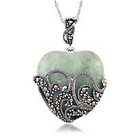 Marcasite & Jade Filigree Heart Pendant in Sterling Silver