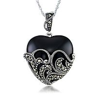 Marcasite & Onyx Filigree Heart Pendant in Sterling Silver
