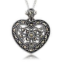 Marcasite Filigree Heart Pendant in Sterling Silver