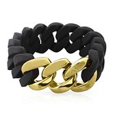 Black Stretch Link Bracelet in Rubber & 18K Yellow Gold over Stainless Steel 2104634
