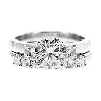 Diamonvita® 3 ct. tw. Simulated Diamond Three-Stone Ring Set in Sterling Silver