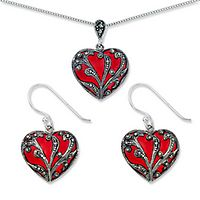 Red Epoxy & Marcasite Pendant & Dangle Earring Set in Sterling Silver
