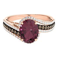 Rhodolite Garnet & 1/2 ct. tw. Sparkling Champagne® & White Diamond Ring in 10K Rose Gold
