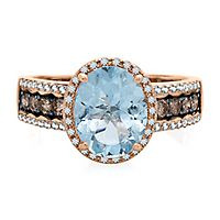 EFFY® Aquamarine, 1/2 ct. tw. White & Champagne Diamond Ring in 14K Rose Gold