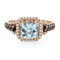 EFFY® Aquamarine & 1/3 ct. tw. White & Champagne Diamond Ring in 14K Rose Gold