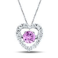 The Beat of Your Heart® Lab-Created Pink & White Sapphire Heart Pendant in Sterling Silver