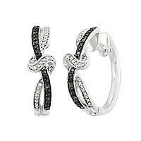 1/5 ct. tw. Black & White Diamond Hoop Earrings in Sterling Silver