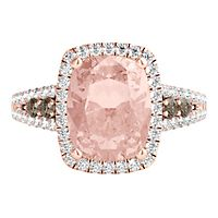 Morganite & 1/2 ct. tw. Champagne & White Diamond Ring in 14K Rose Gold