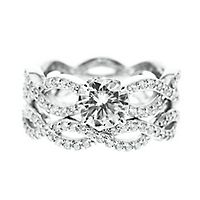 Diamonvita® 2 4/5 ct. tw. Simulated Diamond Engagement Ring Set in Sterling Silver